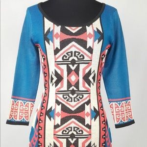Anthropologie Flying Tomato Tribal Sweater Dress